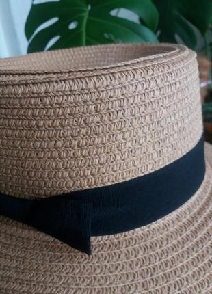 Соломенная шляпа канотье!!! хит лета! шляпка от солнца панамка белая бежевая красная8 фото