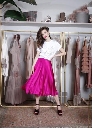 Яркая шелковая юбка с карманами, макси миди, натуральный шёлк шелк цвет фуксия