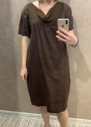 Платье льняное, италия. размер  l.2 фото