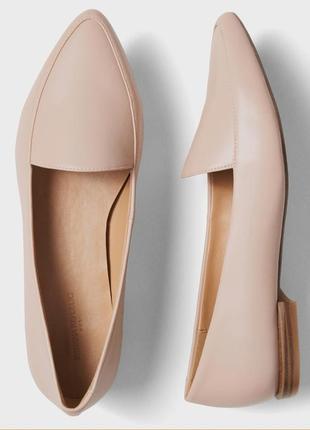 Оксфорды лодочки туфли нюдовые лофферы
