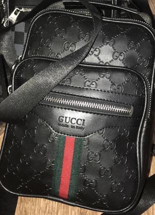 Мужская чёрная кожаная сумка gucci