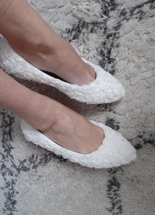 Новые туфли свадебные лодочки балетки в цветы