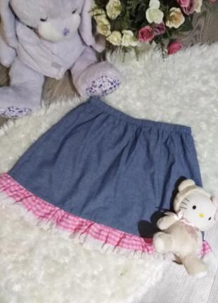 Джинсова літня юбка з рюшами!