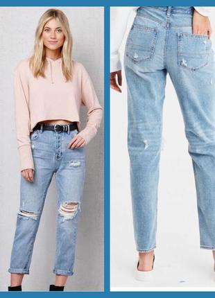 Класні джинси mom, denim co, цвета індіго з рваностями та закотом,розмір л denim co