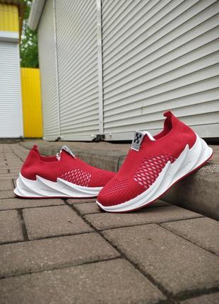 Красные текстильные кроссовки off-whіте