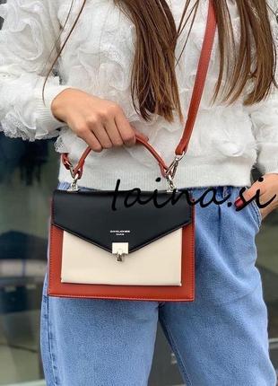 Клатч черный с красным david jones cm5663t оригинал сумка кросс боди