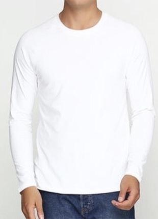 Белый базовый лонгслив реглан 100% хлопок размеры