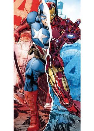 Пляжное полотенце марвел мстители - капитан америка vs. айронмен (железный человек)