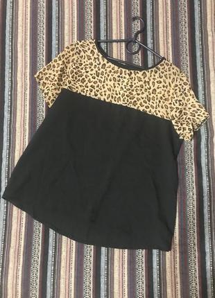 Кофточка футболка блуза свободного кроя оверсайз в леопардовый принт