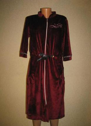 Женский велюровый халат без капюшона.