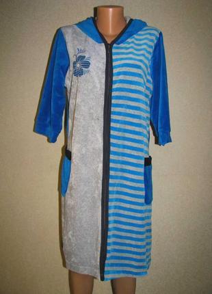 Женский домашний велюровый халат с капюшоном, разные цвета.