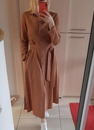 Платье-рубашка 100% лен