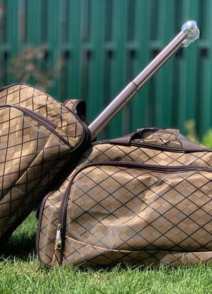 Дорожная сумка саквояж коричневая большая и средняя на колесах с выдвижной ручкой