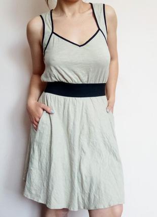 Плаття mango casual/ платье летнее/ бежевое/ легкое/ на бретелях/ клеш