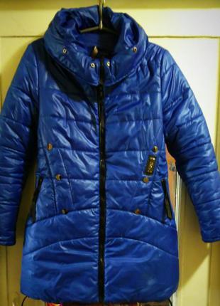 Синяя зимняя удлиненная куртка, можно беременной 44-46