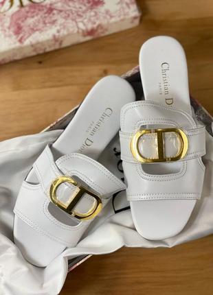 Шлепанцы кожаные женские белые брендовые