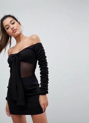 Сексуальне плаття londunn x missguided тренд платье в рубчик открытые плечи ексклюзив