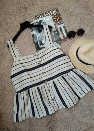 Шикарная хлопковая льняная блузка с воланом на пуговицах/блуза/топ/майка/кофточка