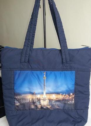 Сумка дутик шоппер женская распродажа недорого синяя тканевая городская принт карманы