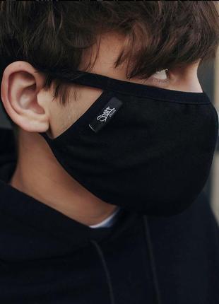 Маска черная защитная тканевая многоразовая универсальная двухслойная защитная для лица