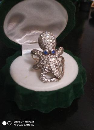 Серебряное кольцо осьминог