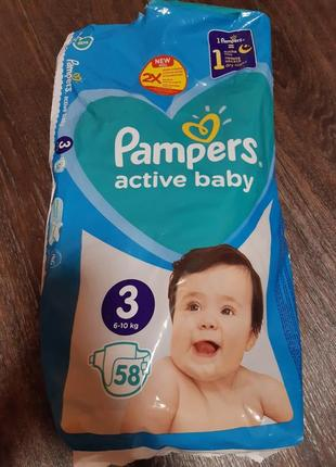 Памперсы pampers active baby 3
