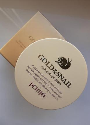 Гидрогелевые патчи с муцином улитки petitfee gold & snail hydrogel eye patch