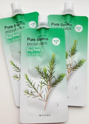 Ночная маска с экстрактом чайного дерева missha pure source pocket pack - tea tree