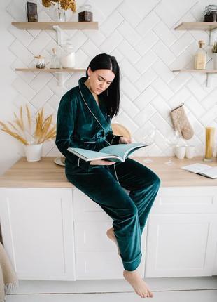 Пижама изумоудная плюшева женская тёплый пижамный набор из велюра