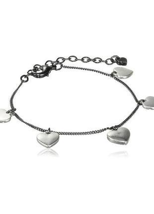 Браслет цепочка с сердечками гематит pilgrim дания ювелирная бижутерия