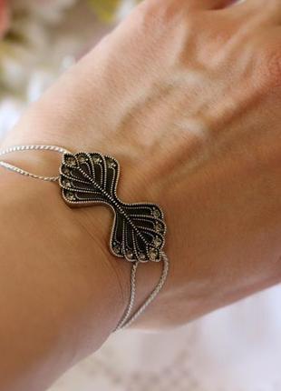 Изысканный браслет посеребрение, черная эмаль, кристаллы pilgrim дания ювелирная бижутерия