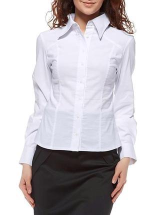 Белая офисная рубашка из стретч-котона