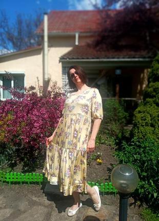 Легкое нарядное платье-миди из итальянского армани-шелка