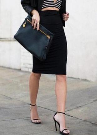Стильная трикотажная юбка миди карандаш с высокой талией