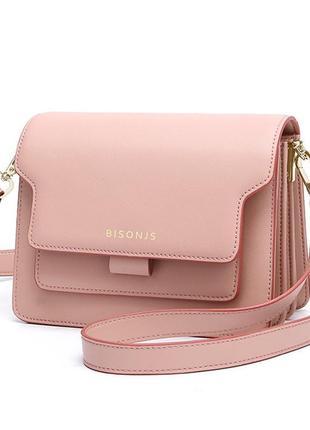 Сумка кожаная женская стильная. сумочка из натуральной кожи прямоугольная (розовая)