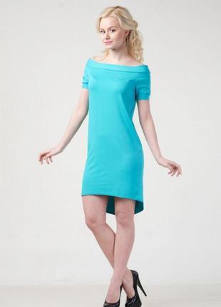 Женское платье с открытыми плечами ассиметрия