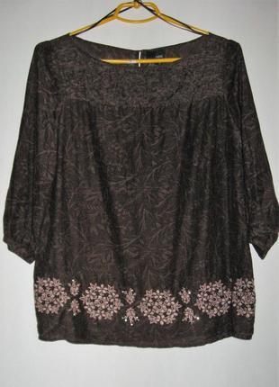 Блуза из шелковистого коттона с вышивкой и пайетками