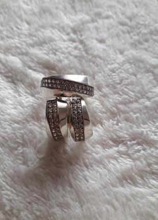 Срібний набір сережки і перстень