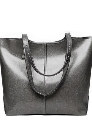 Женская серая сумка из натуральной кожи beverly