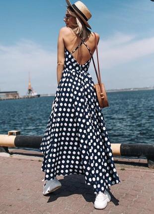 Шикарное платье в горошек макси сукня