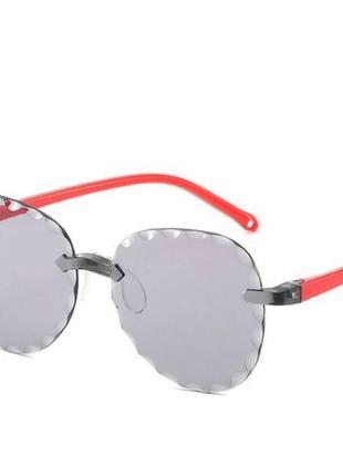 Безоправные детские очки-авиаторы от солнца с темно серой линзой антирефлекс