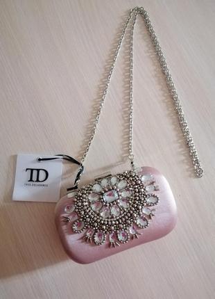 Клатч, сумочка на цепочке, с камнями, пудра