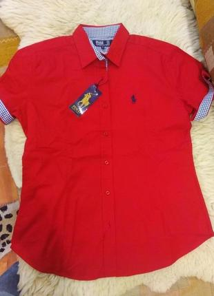 Рубашка polo,бренд,красная