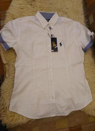 Рубашка короткий рукав,белая,polo