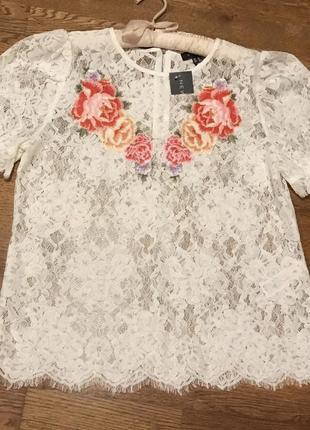 Кружевная блузка футболка с вышивкой new  look, p.16