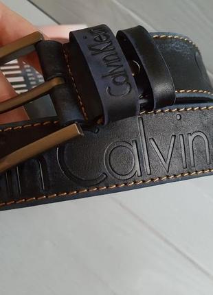 Ремень кожаный calvin klein 40 navy