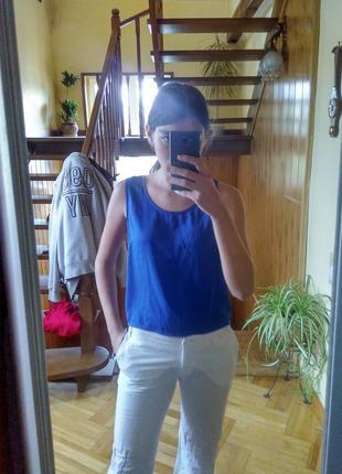 Синя овесайз майка футболка з замком sinsay m