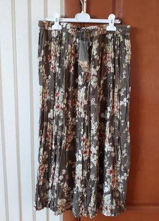 Натуральная  лёгкая юбка плиссе в цветочный принт