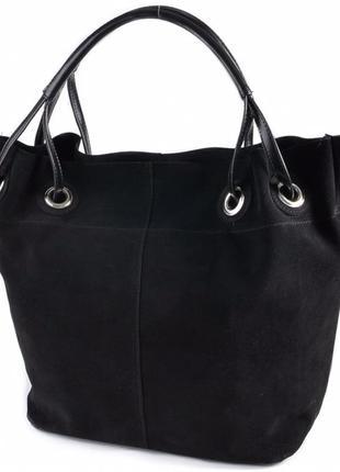 Чёрная замшевая женская молодёжная деловая сумка шоппер мешок с длинными ручками