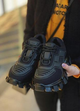 Шикарные женские кроссовки prada cloudbust thunder black (36-40)